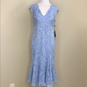 Adrianna Papell Blue Short Lace Dress V-neck Dress